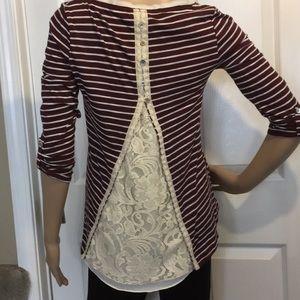 NWT Anthropologie Wine/cream striped blouse XS